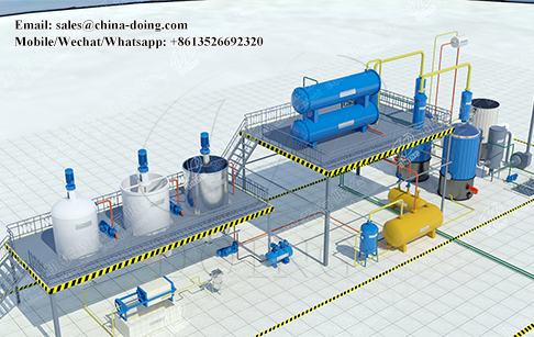 Waste oil to diesel plant 3D video shows oil refining pocess