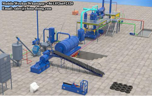 Waste tire pyrolysis plant 3D running video