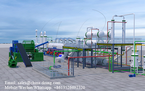 3D video of continuous waste tyre pyrolysis plant running process